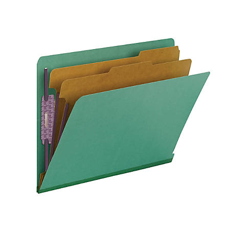 """Smead® End-Tab Classification Folders, With SafeSHIELD Fasteners, 8 1/2"""" x 11"""", 2 Divider, 2 Partition, 100% Recycled, Green, Pack Of 10"""
