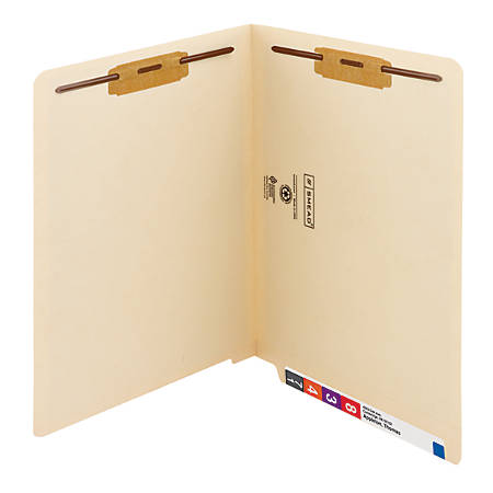Smead® End-Tab Folders With 2 Fasteners, Straight Cut, Letter Size, Manila, Pack Of 50