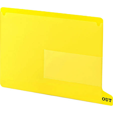 """Smead End Tab Poly Out Guides, Two-Pocket Style - 13.25"""" Divider Width x 9"""" Divider Length - Yellow Vinyl Divider Vinyl Tab - 25 / Box"""