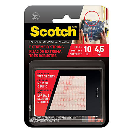 """Scotch® Recloseable Fasteners, Clear, 1"""" x 3"""", Pack Of 2"""