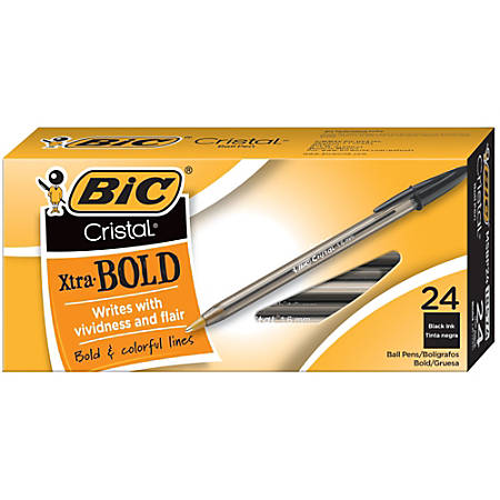 BIC® Cristal® Bold Ballpoint Pens, Extra Bold Point, 1.6 mm, Translucent Smoked Barrel, Black Ink, Pack Of 24 Pens