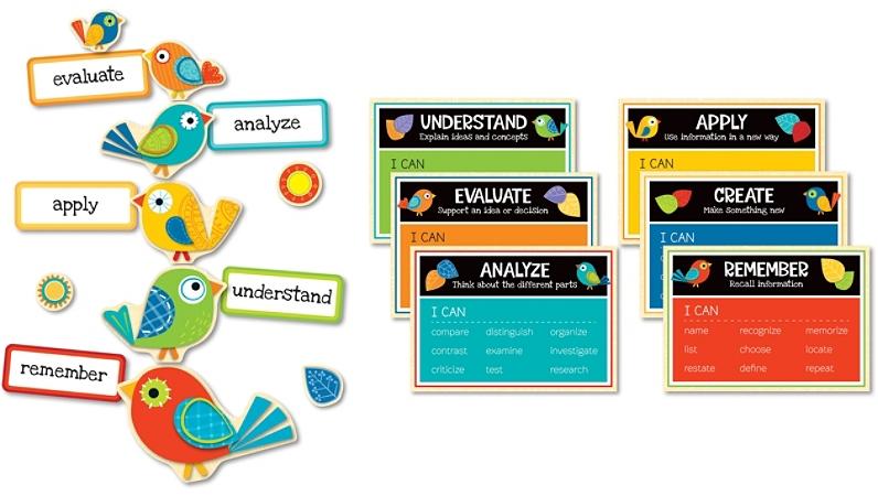 Carson-Dellosa Boho Birds Higher-Order Thinking Skills Bulletin Board Set, Multicolor, Grades K-5