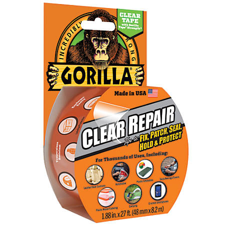 "Gorilla® Repair Tape, 3"" Core, 2"" x 9 Yd., Clear"