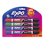 EXPO® 2-in-1 Dry-Erase Markers, Chisel Tip, Assorted Ink Colors, Pack Of 4