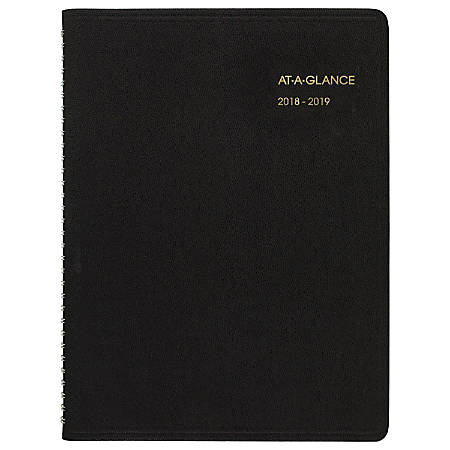 "AT-A-GLANCE® 14-Month Weekly Academic Appointment Book/Planner, 8 1/4"" x 10 7/8"", 30% Recycled, Black, July 2018 to August 2019"