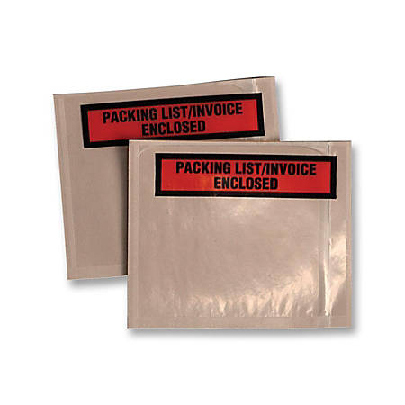 "Quality Park Printed Packing List/Inventory Envelopes - Packing List - 5 1/2"" Width x 4 1/2"" Length - 100 / Box - Clear"