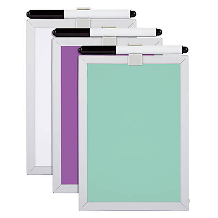 """FORAY® Magnetic Dry-Erase Board, 5"""" x 7"""", Assorted Colors, Aluminum Frame"""