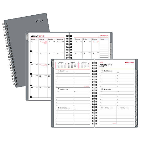 "Office Depot® Brand Spiral Weekly/Monthly Planner, 5"" x 8"", Gray, January to December 2018 (OD710330-18)"