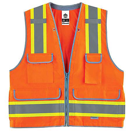 Ergodyne GloWear Safety Vest, Heavy-Duty Surveyors, Type-R Class 2, XX-Large/3X, Orange, 8254HDZ
