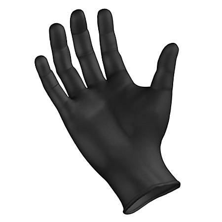 Boardwalk Disposable Nitrile General-Purpose Gloves, Powder-Free, Medium, Black, Box of 100 Gloves