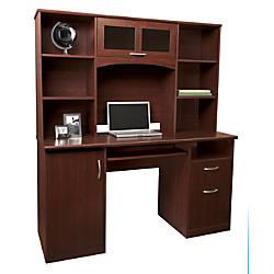 Realspace Landon Desk With Hutch Cherry