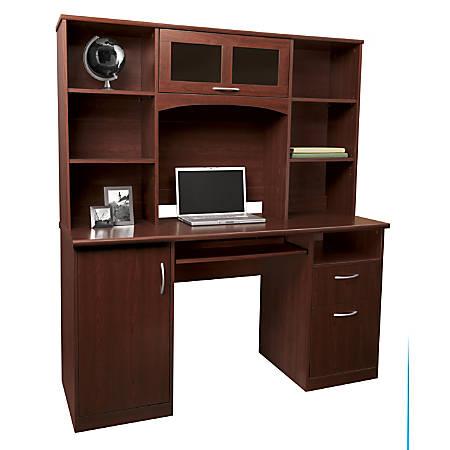 "Realspace® Landon 56""W Desk With Hutch, Cherry"