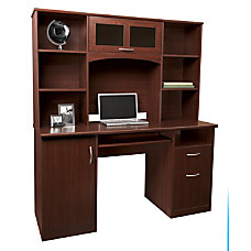 Realspace Landon Desk With Hutch Cherry