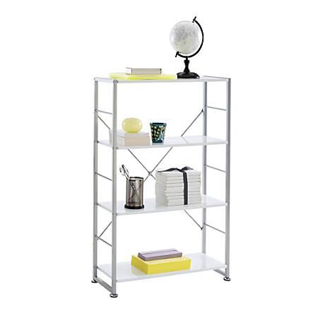 "Realspace® Halton 47""H 4-Shelf Bookcase, White"