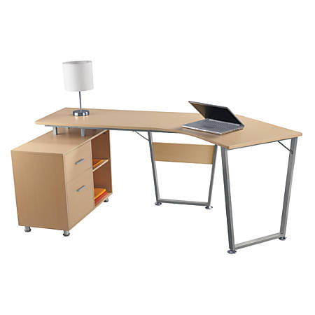 Realspace® Brent Dog-Leg Desk, Oak