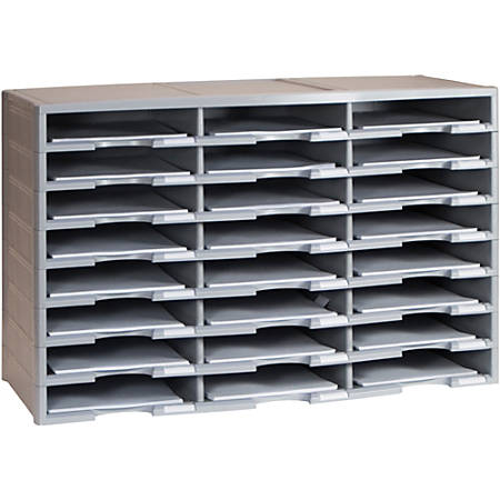"Storex Stackable Literature Sorter - 12000 x Sheet - 24 Compartment(s) - 9.50"" x 12"" - 20.5"" Height x 14.1"" Width31.4"" Length - Gray - Plastic, Polystyrene - 1Carton"