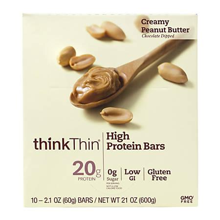 thinkThin Creamy Peanut Butter High Protein Bars, 2.1 Oz, Box Of 10 Bars