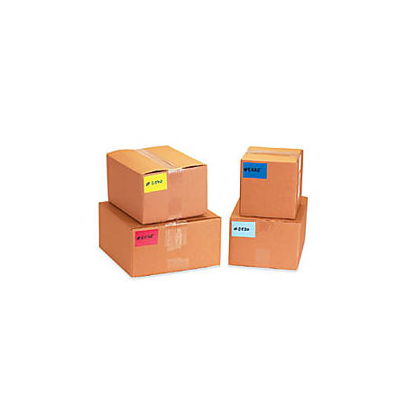 "Tape Logic® Removable Write™On Rectangle Inventory Label Roll, DL632G, 5"" x 3"", Fluorescent Red, Roll Of 500"
