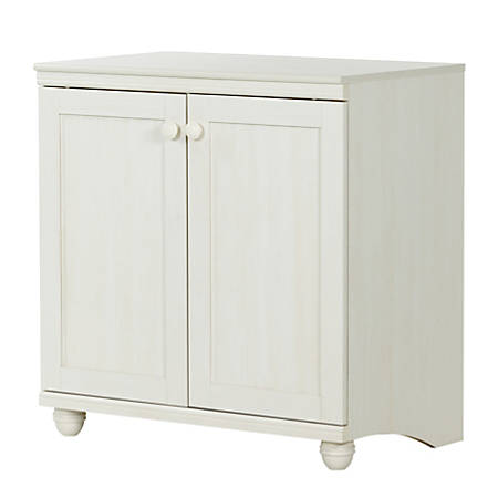 South Shore Hopedale 2-Door Storage Cabinet, 1 Fixed Shelf, 1 Adjustable Shelf, White Wash