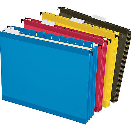 "Pendaflex® SureHook® Hanging Pockets, 3 1/2"" Expansion, 8 1/2"" x 11"", Assorted Colors, Pack Of 4 Pockets"