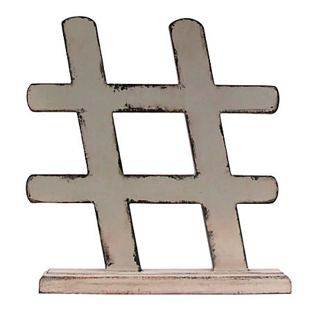 "Realspace™ Hashtag Desktop Figurine, 9-3/4""H x 9""W x 1-13/16""D, Ivory"