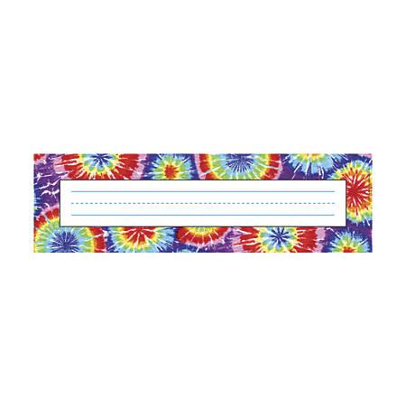 """Barker Creek Single-Sided Desk Tags/Bulletin Board Signs, 12"""" x 3 1/2"""", Tie-Dye, Pre-K To Grade 6, Pack Of 36"""