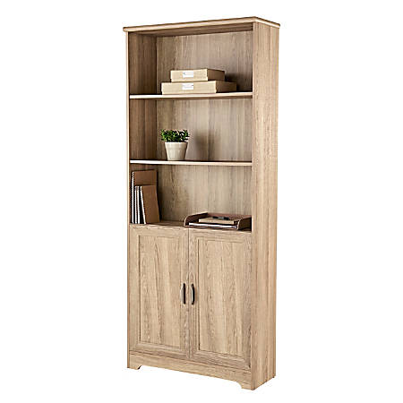 "Realspace® Magellan 72""H 5-Shelf Bookcase With Doors, Blonde Ash"