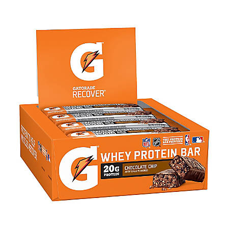 Gatorade Recover Chocolate Chip Whey Protein Bar, 2.8 oz, 12 Count