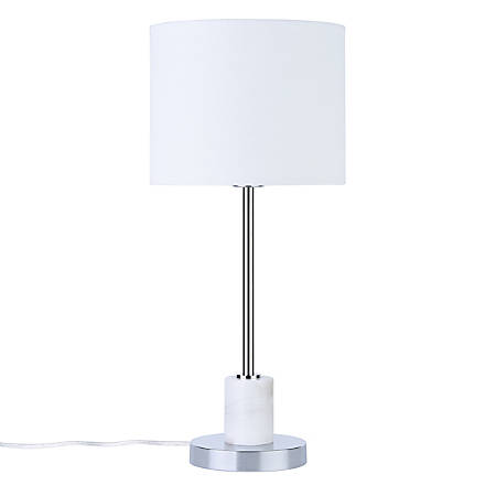 Southern Enterprises Bellina Table Lamp 22 1 4 H White Shade Chrome And Base Item 7623483