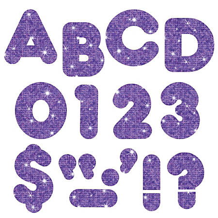 """TREND Ready Letters®, 4"""", Sparkle Letters/Numbers, Purple, Pre-K - Grade 8, Pack Of 194"""