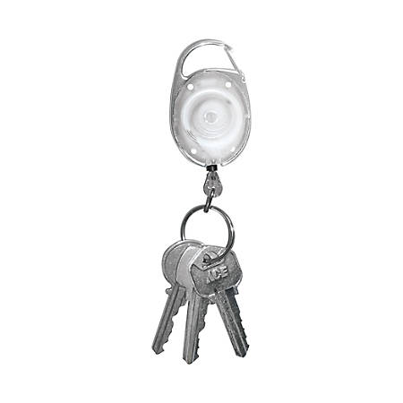 "Tatco Reel Key Chain With Carabiner, 30"", Chrome/Clear, Pack Of 6"