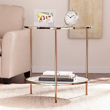 Southern Enterprises Risa End Table, Round, Metallic Gold/White