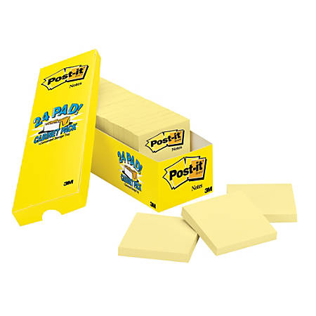 "Post it® Notes, 3"" x 3"", Canary Yellow, Pack Of 24 Pads"