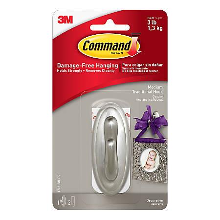 3M™ Command™ Damage-Free Hook, Traditional, Medium, Brushed Nickel