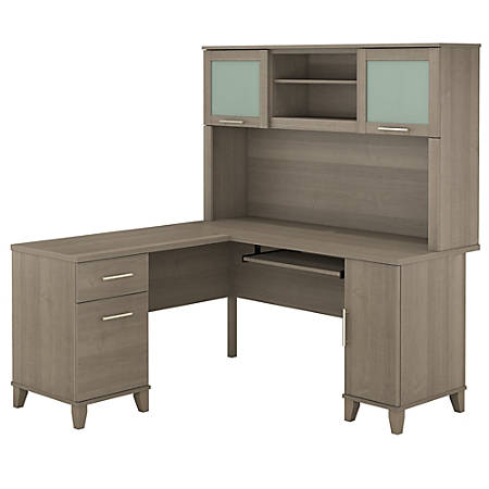 "Bush Furniture Somerset L Shaped Desk With Hutch, 60""W, Ash Gray, Standard Delivery"
