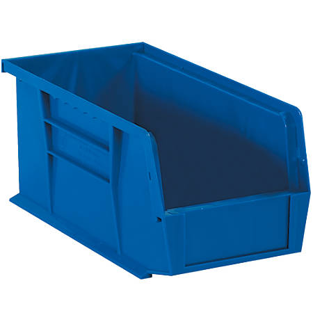 """Office Depot® Brand Plastic Stack And Hang Bin Boxes, 14 3/4"""" x 8 1/4"""" x 7"""", Blue, Pack Of 12"""