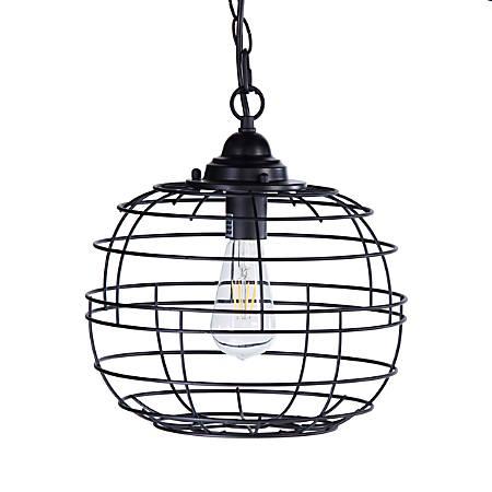 "Southern Enterprises Ramsey Metal LED Pendant Lamp, 9""H, Black"