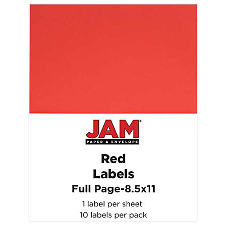"JAM Paper® Full-Page Mailing And Shipping Labels, 337628603, 8 1/2"" x 11"", Red, Pack Of 10"