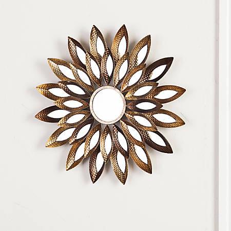 "Southern Enterprises Morina Round Mirrored Wall Sculpture, 24"" x 24"", Gold"