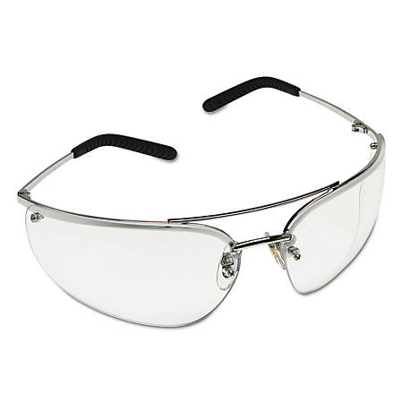Metaliks Safety Eyewear, Clear Lens, Anti-Fog, Hard Coat, Silver Frame, Metal