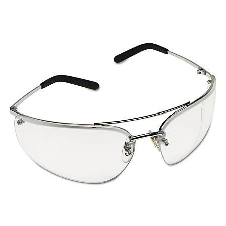 Metaliks Safety Eyewear, Clear Lens, Anti-Fog, Hard Coat, Silver Frame, Metal