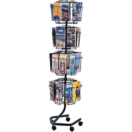 """Safco® 32-Pocket Wire Rotary Brochure Literature Rack, 60""""H x 15""""W x 15""""D, Charcoal"""