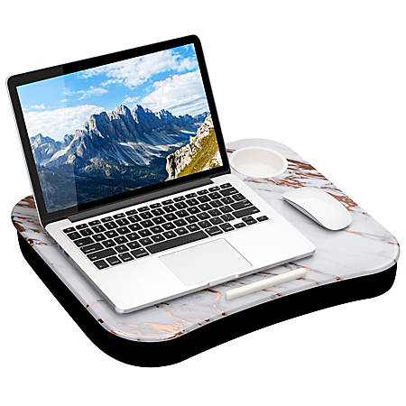"LapGear Lap Desk With Cup Holder, 14.75""H x 18.5""W x 2.8""D, Rose Gold Marble"