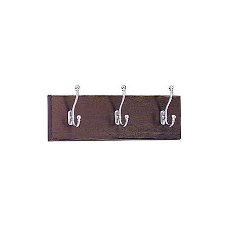 "Safco® 3-Hook Wood Wall Rack, 6 3/4""H x 18""W x 3 1/4""D, Chrome/Mahogany"