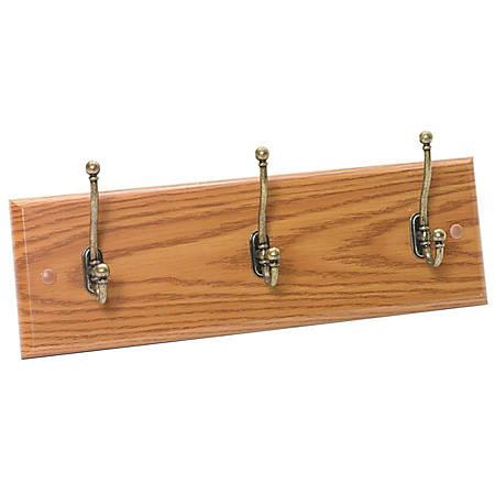 "Safco® 3-Hook Wall Rack, 6 3/4""H x 18""W x 3 1/4""D, Medium Oak"