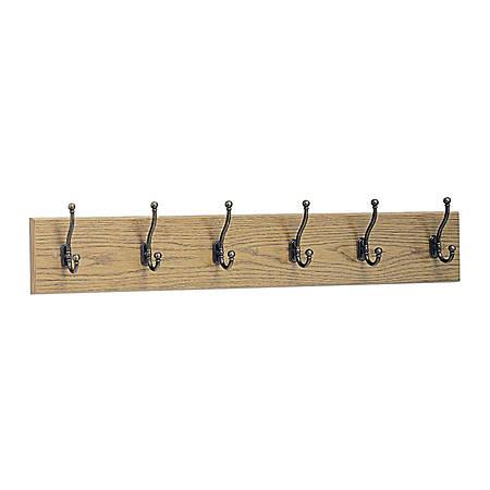 "Safco® 6-Hook Wood Wall Rack, 6 3/4""H x 35 1/2""W x 3 1/4""D, Medium Oak"