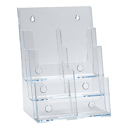 "Azar Displays 3-Tier 6-Pocket Plastic Trifold Brochure Holder, 13-1/4""H x 9-1/4""W x 6""D, Clear"