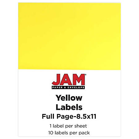 "JAM Paper® Full-Page Mailing And Shipping Labels, 337628610, 8 1/2"" x 11"", Yellow, Pack Of 10"