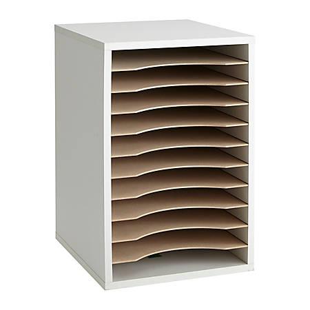"Safco® Vertical Desk Top Sorter, 11 Compartment, 16"" H x 10¾"" W x 12"" D, Gray"