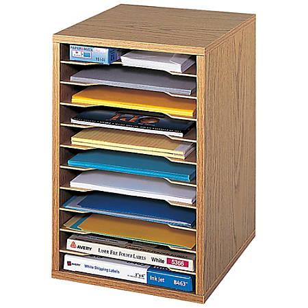 """Safco® Vertical Desk Top Sorter, 11 Compartment, 16"""" H x 10¾"""" W x 12"""" D, Medium Oak"""